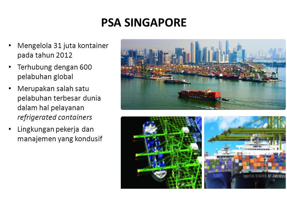 Mengelola 31 juta kontainer pada tahun 2012 Terhubung dengan 600 pelabuhan global Merupakan salah satu pelabuhan terbesar dunia dalam hal pelayanan refrigerated containers Lingkungan pekerja dan manajemen yang kondusif PSA SINGAPORE