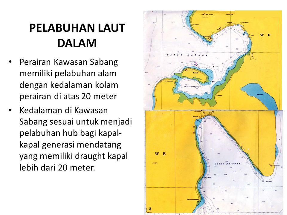 PELABUHAN LAUT DALAM Perairan Kawasan Sabang memiliki pelabuhan alam dengan kedalaman kolam perairan di atas 20 meter Kedalaman di Kawasan Sabang sesuai untuk menjadi pelabuhan hub bagi kapal- kapal generasi mendatang yang memiliki draught kapal lebih dari 20 meter.