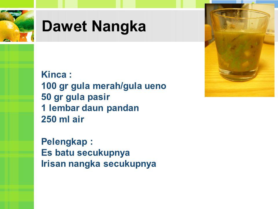 Dawet Nangka Kinca : 100 gr gula merah/gula ueno 50 gr gula pasir 1 lembar daun pandan 250 ml air Pelengkap : Es batu secukupnya Irisan nangka secukup