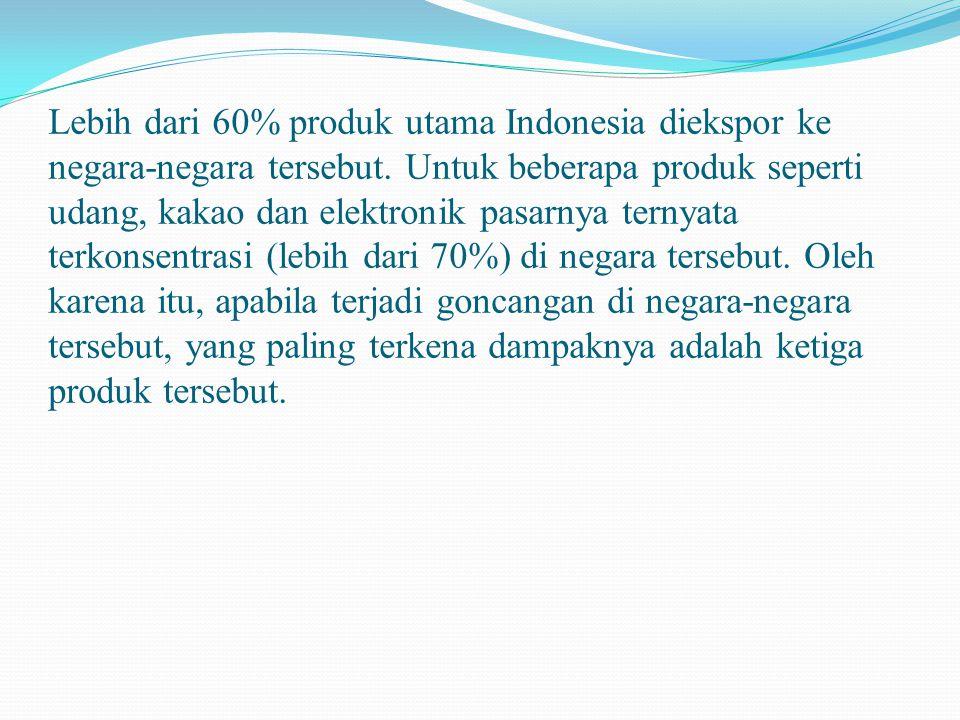 Lebih dari 60% produk utama Indonesia diekspor ke negara-negara tersebut.