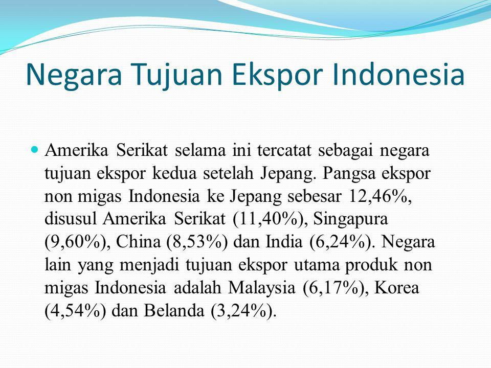 Negara Tujuan Ekspor Indonesia Amerika Serikat selama ini tercatat sebagai negara tujuan ekspor kedua setelah Jepang. Pangsa ekspor non migas Indonesi