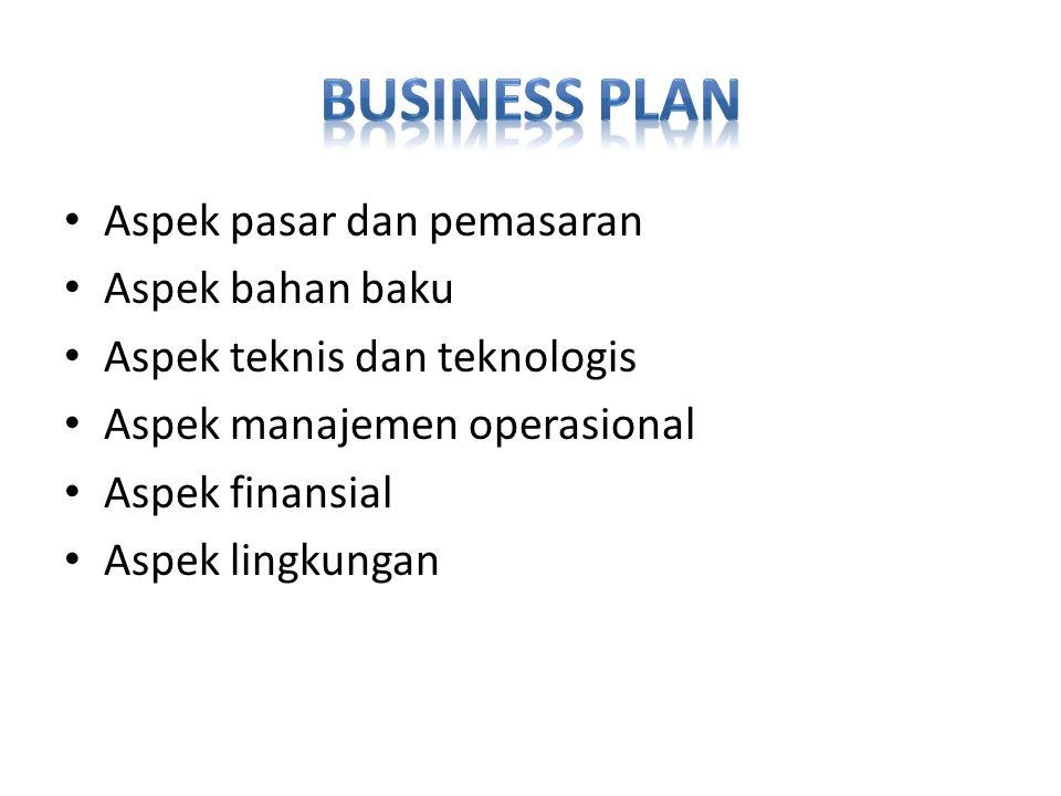 Aspek pasar dan pemasaran Aspek bahan baku Aspek teknis dan teknologis Aspek manajemen operasional Aspek finansial Aspek lingkungan