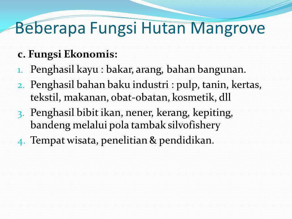 Beberapa Fungsi Hutan Mangrove c. Fungsi Ekonomis: 1. Penghasil kayu : bakar, arang, bahan bangunan. 2. Penghasil bahan baku industri : pulp, tanin, k