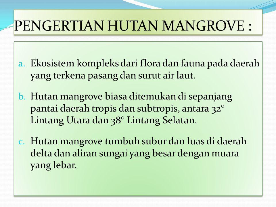 PENGERTIAN HUTAN MANGROVE : a. Ekosistem kompleks dari flora dan fauna pada daerah yang terkena pasang dan surut air laut. b. Hutan mangrove biasa dit