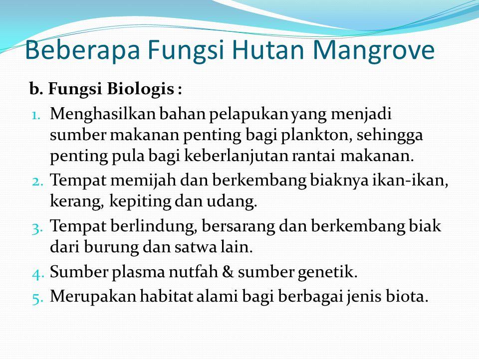 Beberapa Fungsi Hutan Mangrove b. Fungsi Biologis : 1. Menghasilkan bahan pelapukan yang menjadi sumber makanan penting bagi plankton, sehingga pentin