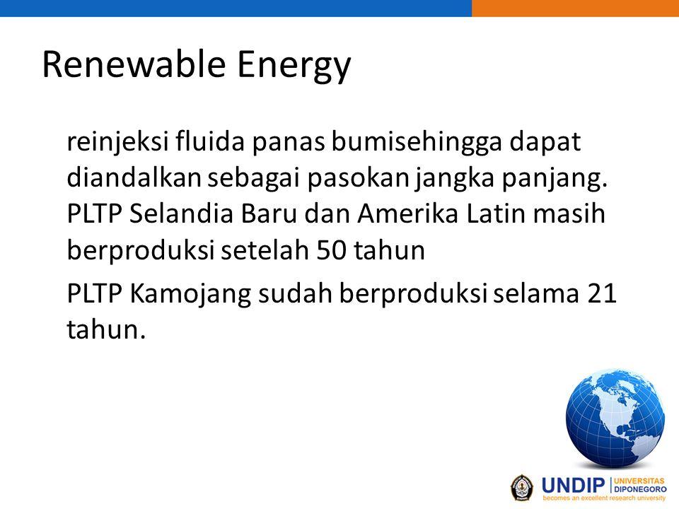 Renewable Energy reinjeksi fluida panas bumisehingga dapat diandalkan sebagai pasokan jangka panjang.