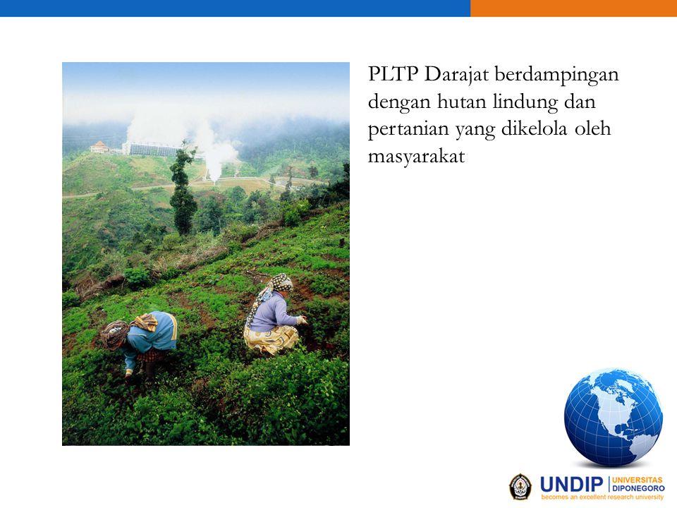 PLTP Darajat berdampingan dengan hutan lindung dan pertanian yang dikelola oleh masyarakat