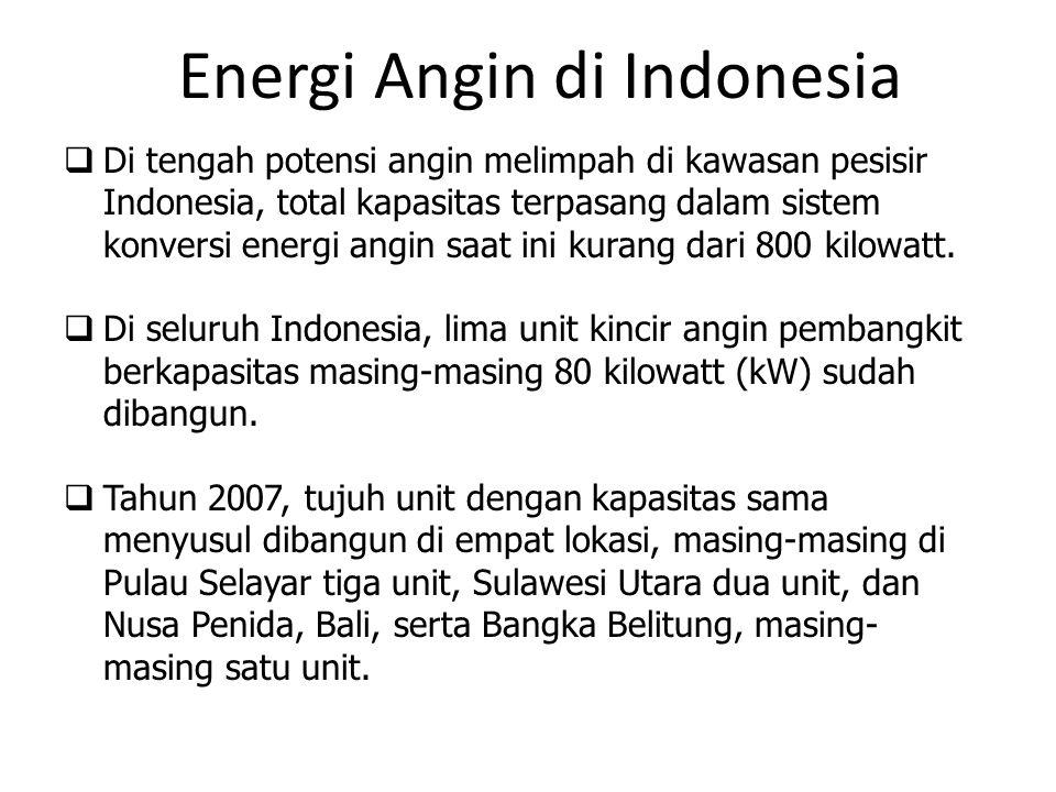 Di tengah potensi angin melimpah di kawasan pesisir Indonesia, total kapasitas terpasang dalam sistem konversi energi angin saat ini kurang dari 800