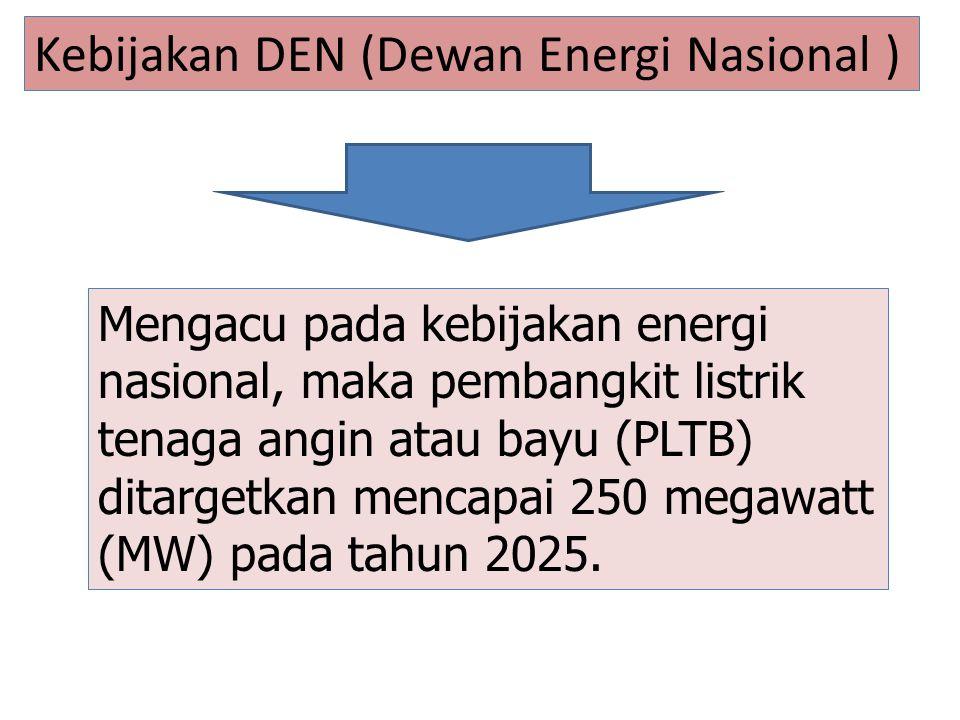 Mengacu pada kebijakan energi nasional, maka pembangkit listrik tenaga angin atau bayu (PLTB) ditargetkan mencapai 250 megawatt (MW) pada tahun 2025.