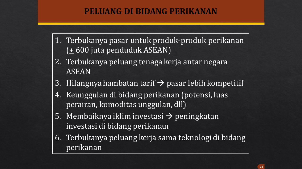 18 PELUANG DI BIDANG PERIKANAN 1.Terbukanya pasar untuk produk-produk perikanan (+ 600 juta penduduk ASEAN) 2.Terbukanya peluang tenaga kerja antar ne