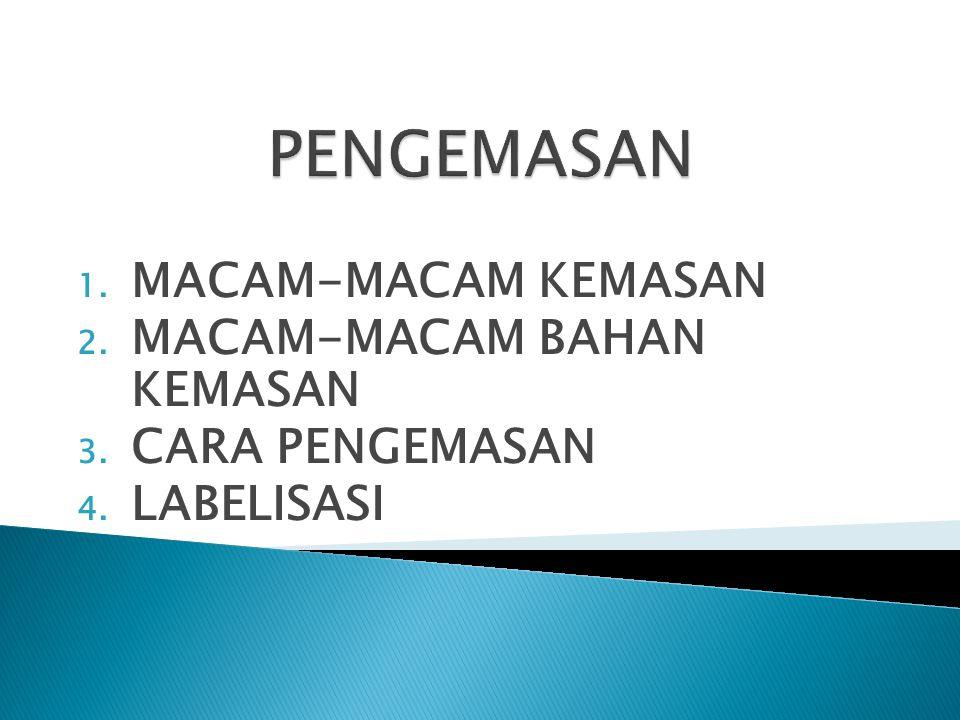1. MACAM-MACAM KEMASAN 2. MACAM-MACAM BAHAN KEMASAN 3. CARA PENGEMASAN 4. LABELISASI