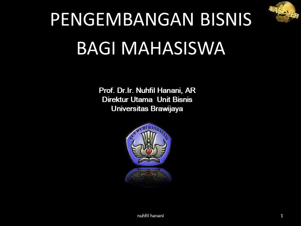 PENGEMBANGAN BISNIS BAGI MAHASISWA Prof. Dr.Ir. Nuhfil Hanani, AR Direktur Utama Unit Bisnis Universitas Brawijaya nuhfil hanani1