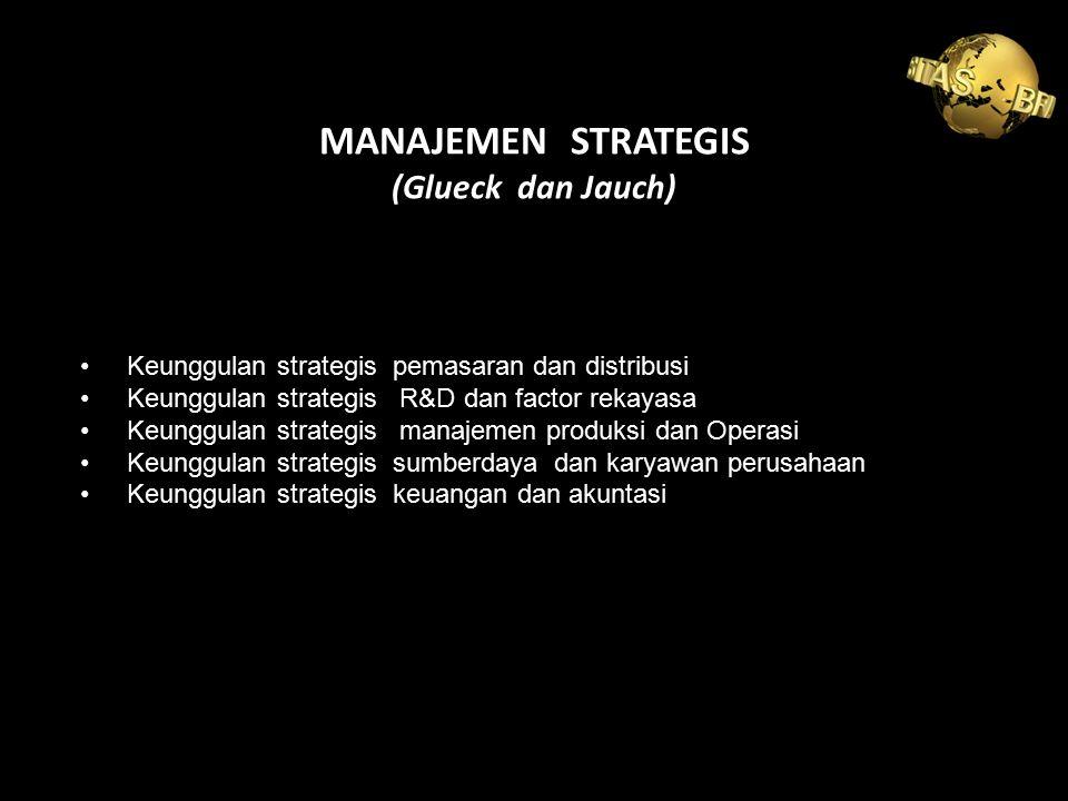 MANAJEMEN STRATEGIS (Glueck dan Jauch) Keunggulan strategis pemasaran dan distribusi Keunggulan strategis R&D dan factor rekayasa Keunggulan strategis