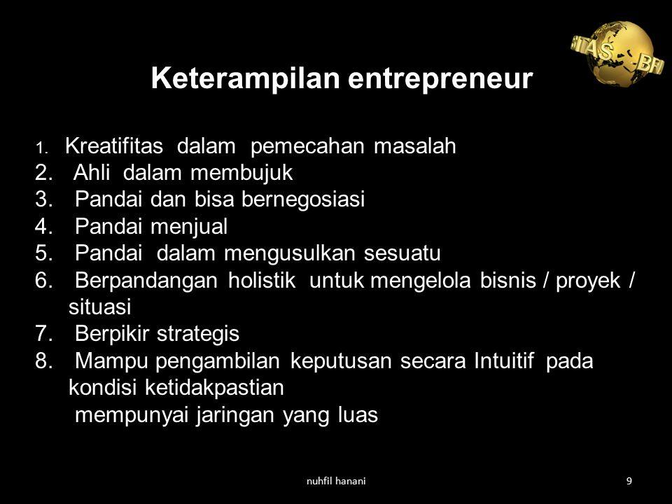 Keterampilan entrepreneur 1. Kreatifitas dalam pemecahan masalah 2. Ahli dalam membujuk 3. Pandai dan bisa bernegosiasi 4. Pandai menjual 5. Pandai da