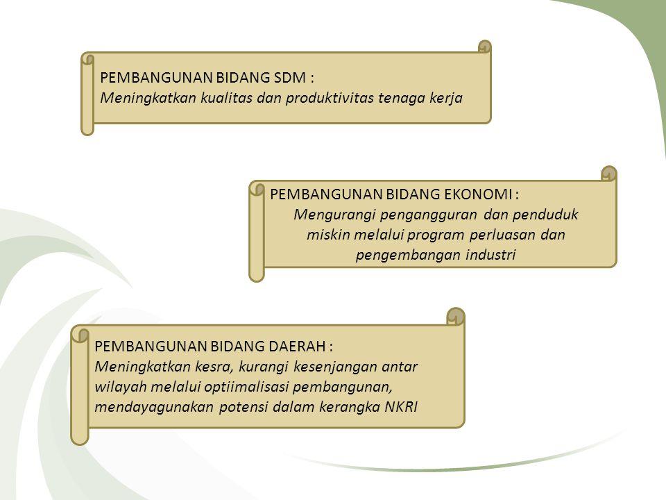 PEMBANGUNAN BIDANG SDM : Meningkatkan kualitas dan produktivitas tenaga kerja PEMBANGUNAN BIDANG EKONOMI : Mengurangi pengangguran dan penduduk miskin