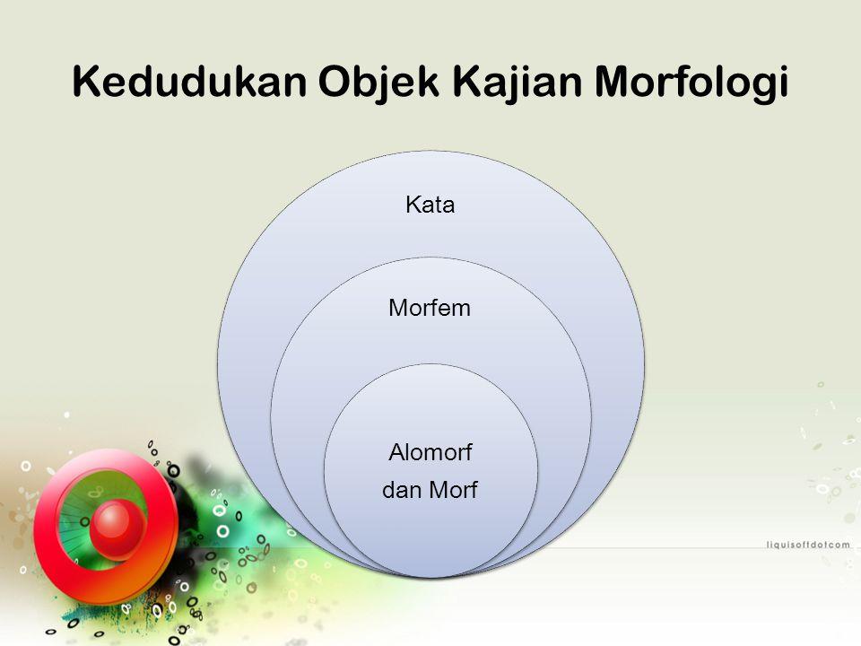 Morfem Satuan gramatikal terkecil yang mempunyai makna; bentuk yg sama yg terdapat berulang-ulang dalam satuan bentuk yg lain Kata dengan 1 morfem Ambil Bawa Curi Dukung Kata dengan lebih dari 1 morfem Diambil Dibawa Dicuri Didukung  {di} + {ambil/bawa/curi/ dukung} = 2 morfem