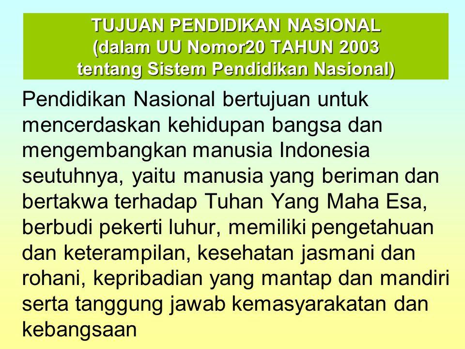 TUJUAN PENDIDIKAN NASIONAL (dalam GBHN 1993) Pendidikan Nasional bertujuan untuk meningkatkan kualitas manusia Indonesia, yaitu manusia yang beriman dan bertakwa terhadap Tuhan Yang Maha Esa, berbudi luhur, berkepribadian, beretos kerja, profesional, bertanggung jawab, dan produktif serta sehat jasmani dan rohani, menumbuhkan semangat kebangsaan dan kesetikawanan serta kesadaran pada sejarah bangsa dan sikap menghargai jasa para pahlawan serta berorientasi ke masa depan