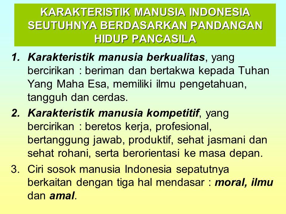KARAKTERISTIK MANUSIA INDONESIA SEUTUHNYA BERDASARKAN PANDANGAN HIDUP PANCASILA 1.Karakteristik manusia berkualitas, yang bercirikan : beriman dan ber