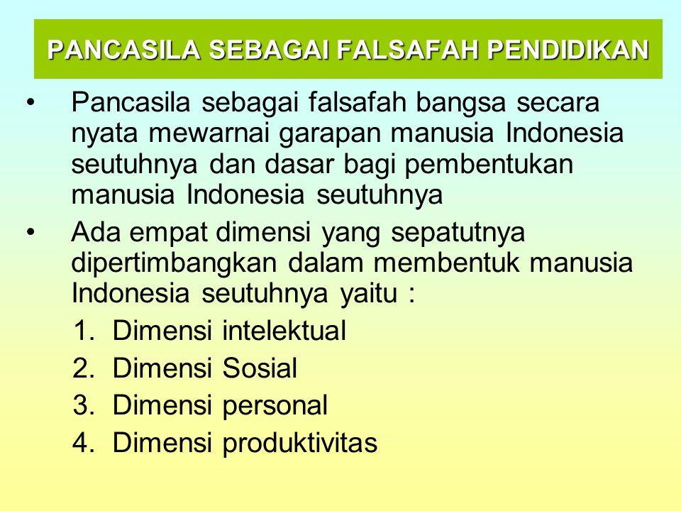 PANCASILA SEBAGAI FALSAFAH PENDIDIKAN Pancasila sebagai falsafah bangsa secara nyata mewarnai garapan manusia Indonesia seutuhnya dan dasar bagi pembe