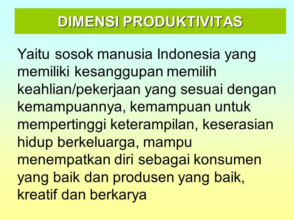 DIMENSI PRODUKTIVITAS Yaitu sosok manusia Indonesia yang memiliki kesanggupan memilih keahlian/pekerjaan yang sesuai dengan kemampuannya, kemampuan un