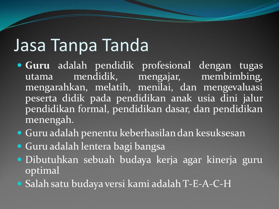 Jasa Tanpa Tanda Guru adalah pendidik profesional dengan tugas utama mendidik, mengajar, membimbing, mengarahkan, melatih, menilai, dan mengevaluasi peserta didik pada pendidikan anak usia dini jalur pendidikan formal, pendidikan dasar, dan pendidikan menengah.