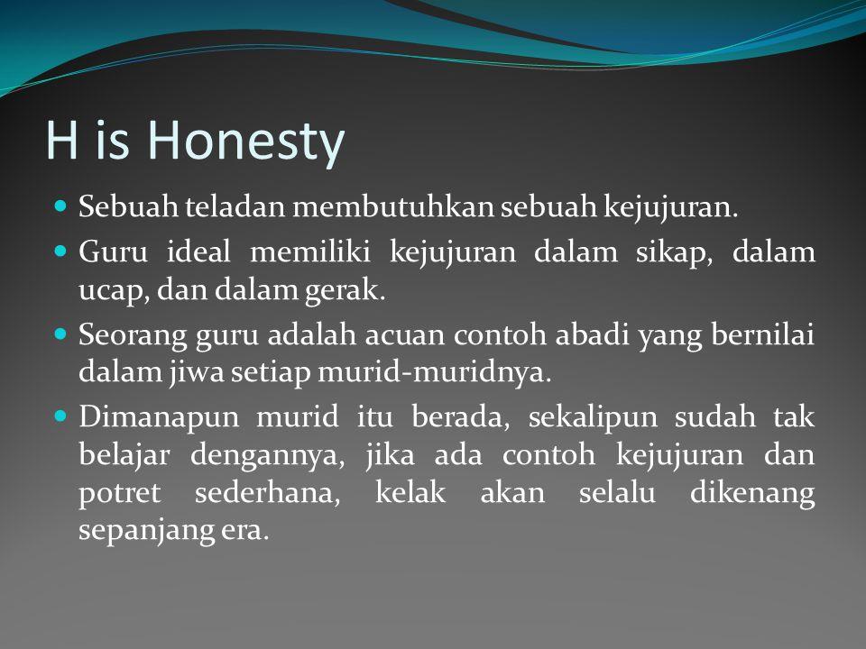 H is Honesty Sebuah teladan membutuhkan sebuah kejujuran.