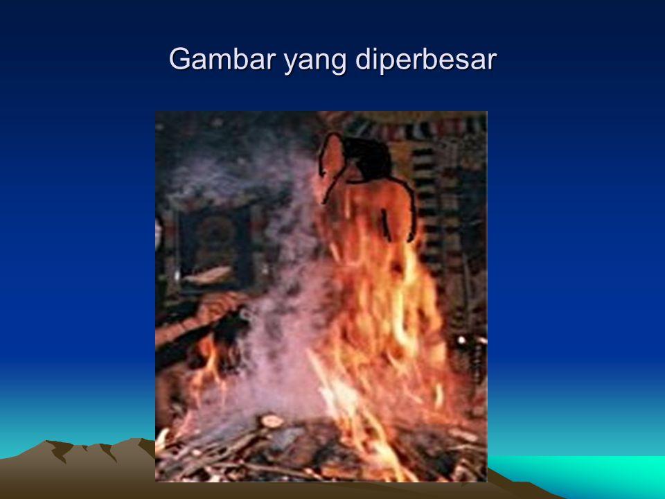 Dari api muncul bentuk yang mirip Sai Baba