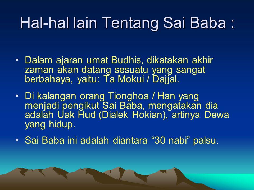 CONTOH KESAKTIAN LAINNYA DARI SAI BABA Bila di dekati Sai Baba, kemudian dia menyentil kening seseorang, maka orang tersebut dalam waktu singkat bisa