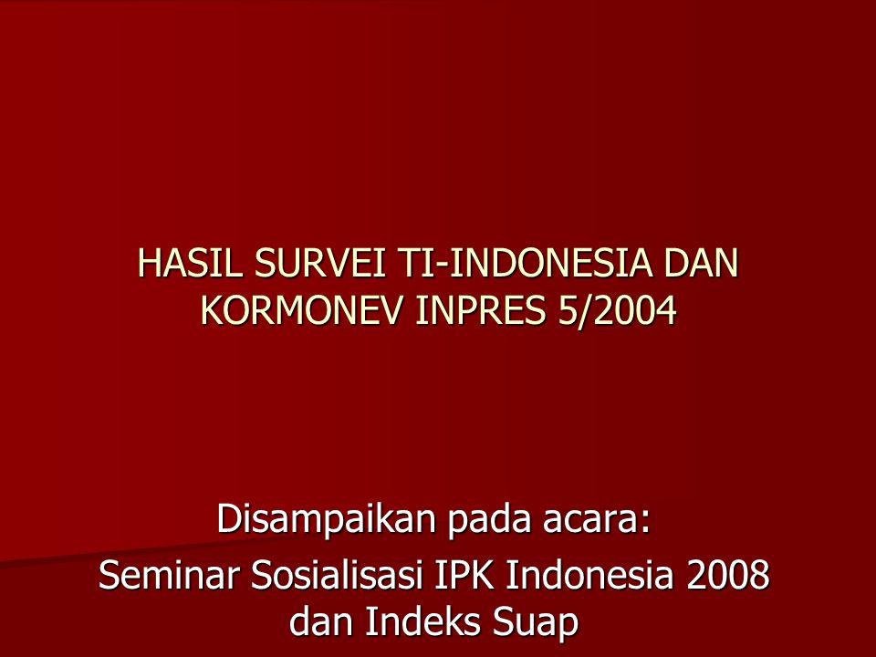 Disampaikan pada acara: Seminar Sosialisasi IPK Indonesia 2008 dan Indeks Suap HASIL SURVEI TI-INDONESIA DAN KORMONEV INPRES 5/2004