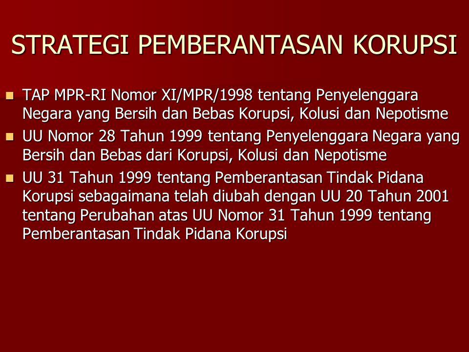 STRATEGI PEMBERANTASAN KORUPSI TAP MPR-RI Nomor XI/MPR/1998 tentang Penyelenggara Negara yang Bersih dan Bebas Korupsi, Kolusi dan Nepotisme TAP MPR-R
