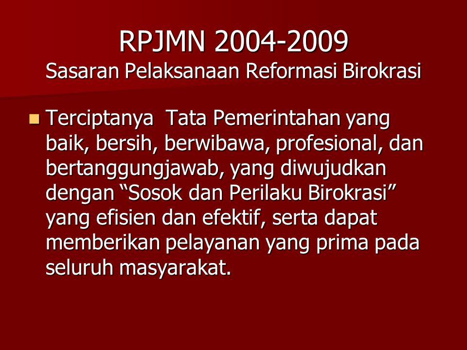 RPJMN 2004-2009 Sasaran Pelaksanaan Reformasi Birokrasi Terciptanya Tata Pemerintahan yang baik, bersih, berwibawa, profesional, dan bertanggungjawab,