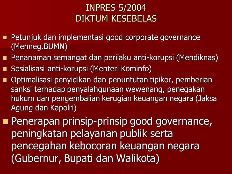 INPRES 5/2004 DIKTUM KESEBELAS Petunjuk dan implementasi good corporate governance (Menneg.BUMN) Petunjuk dan implementasi good corporate governance (