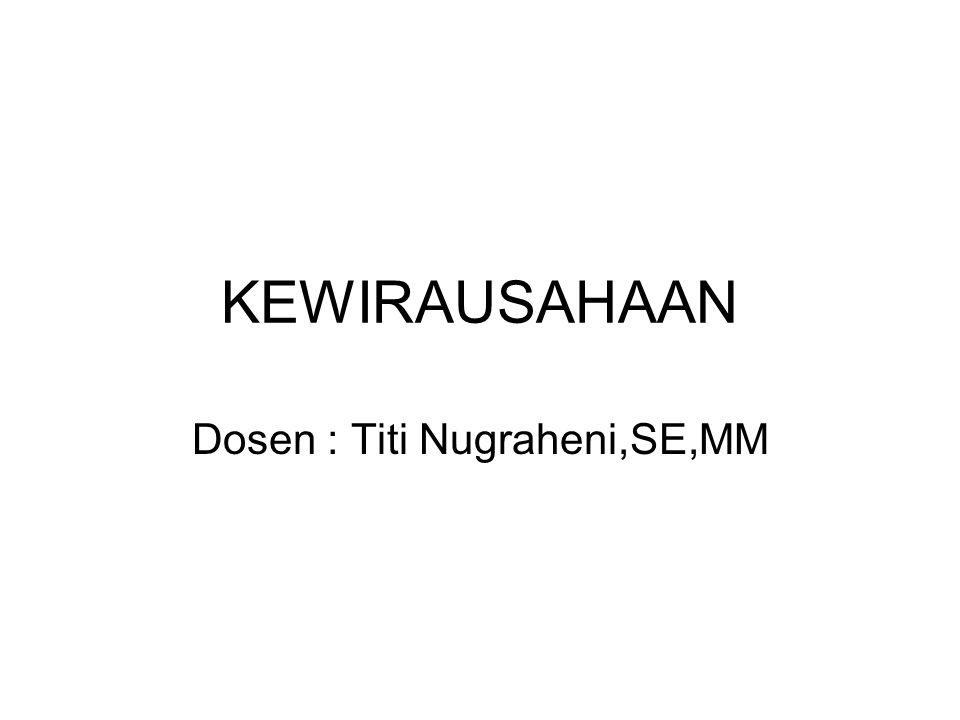 KEWIRAUSAHAAN Dosen : Titi Nugraheni,SE,MM