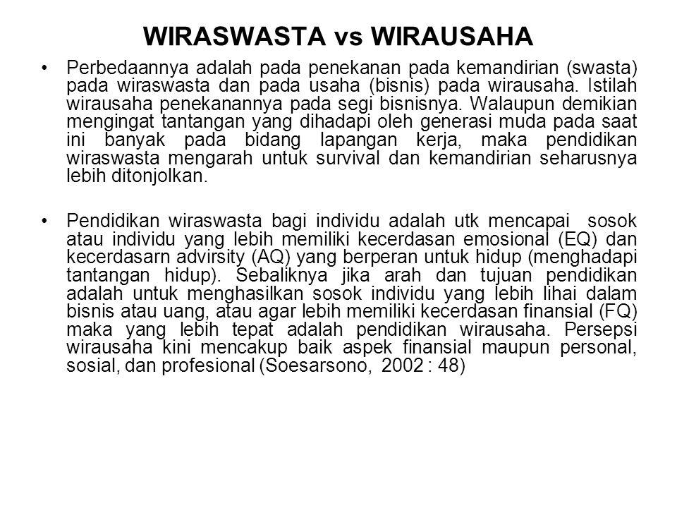 WIRASWASTA vs WIRAUSAHA Perbedaannya adalah pada penekanan pada kemandirian (swasta) pada wiraswasta dan pada usaha (bisnis) pada wirausaha. Istilah w