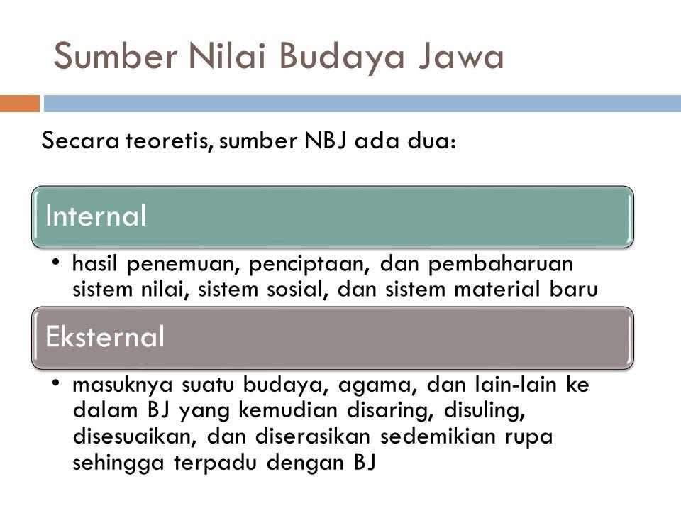Sumber Nilai Budaya Jawa Secara teoretis, sumber NBJ ada dua: Internal hasil penemuan, penciptaan, dan pembaharuan sistem nilai, sistem sosial, dan si