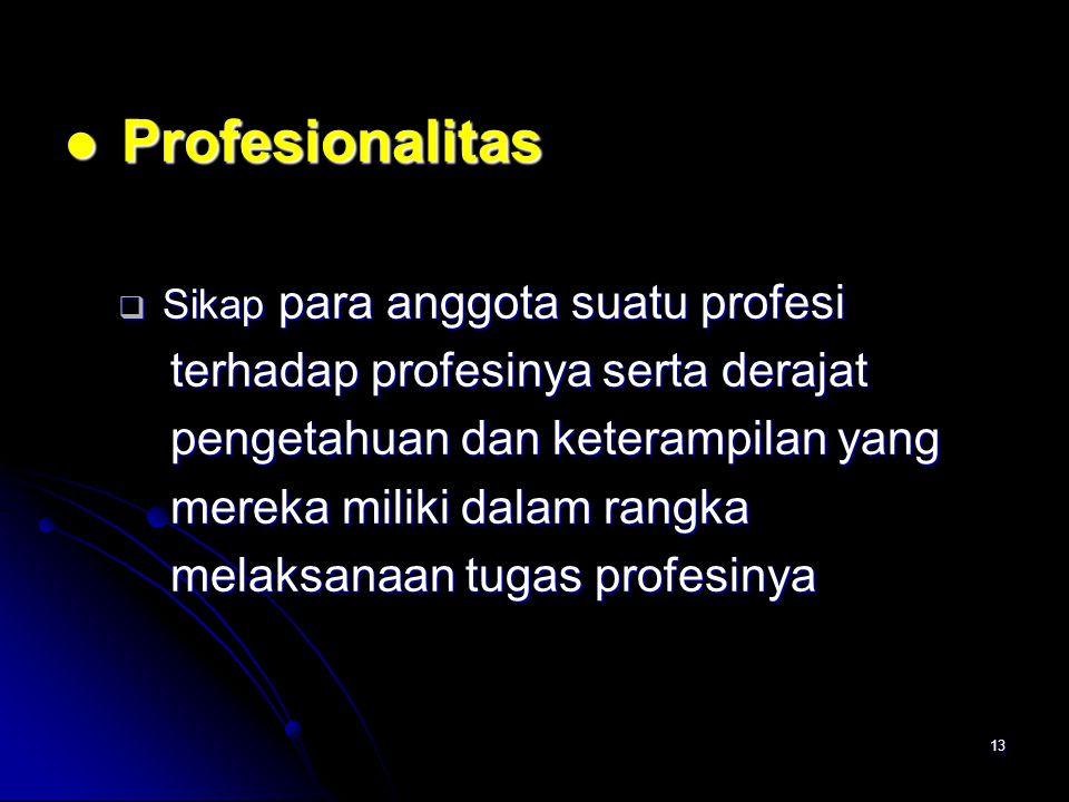 13 Profesionalitas Profesionalitas  Sikap para anggota suatu profesi terhadap profesinya serta derajat terhadap profesinya serta derajat pengetahuan dan keterampilan yang pengetahuan dan keterampilan yang mereka miliki dalam rangka mereka miliki dalam rangka melaksanaan tugas profesinya melaksanaan tugas profesinya