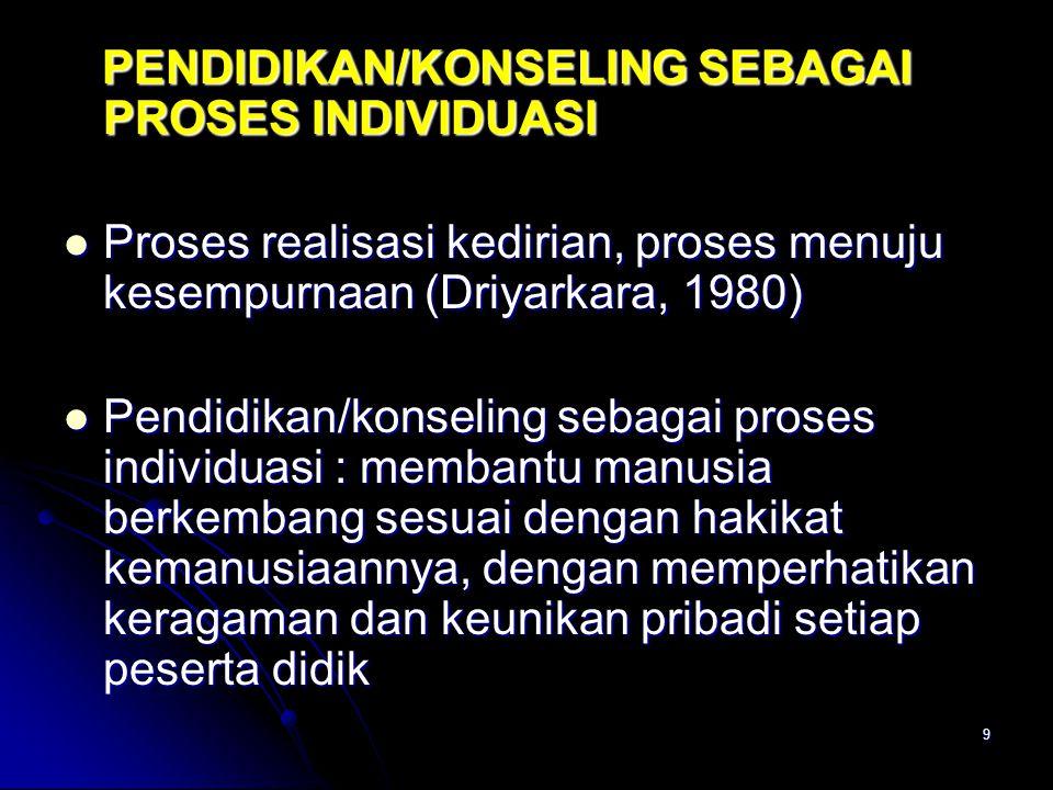 9 PENDIDIKAN/KONSELING SEBAGAI PROSES INDIVIDUASI PENDIDIKAN/KONSELING SEBAGAI PROSES INDIVIDUASI Proses realisasi kedirian, proses menuju kesempurnaan (Driyarkara, 1980) Proses realisasi kedirian, proses menuju kesempurnaan (Driyarkara, 1980) Pendidikan/konseling sebagai proses individuasi : membantu manusia berkembang sesuai dengan hakikat kemanusiaannya, dengan memperhatikan keragaman dan keunikan pribadi setiap peserta didik Pendidikan/konseling sebagai proses individuasi : membantu manusia berkembang sesuai dengan hakikat kemanusiaannya, dengan memperhatikan keragaman dan keunikan pribadi setiap peserta didik