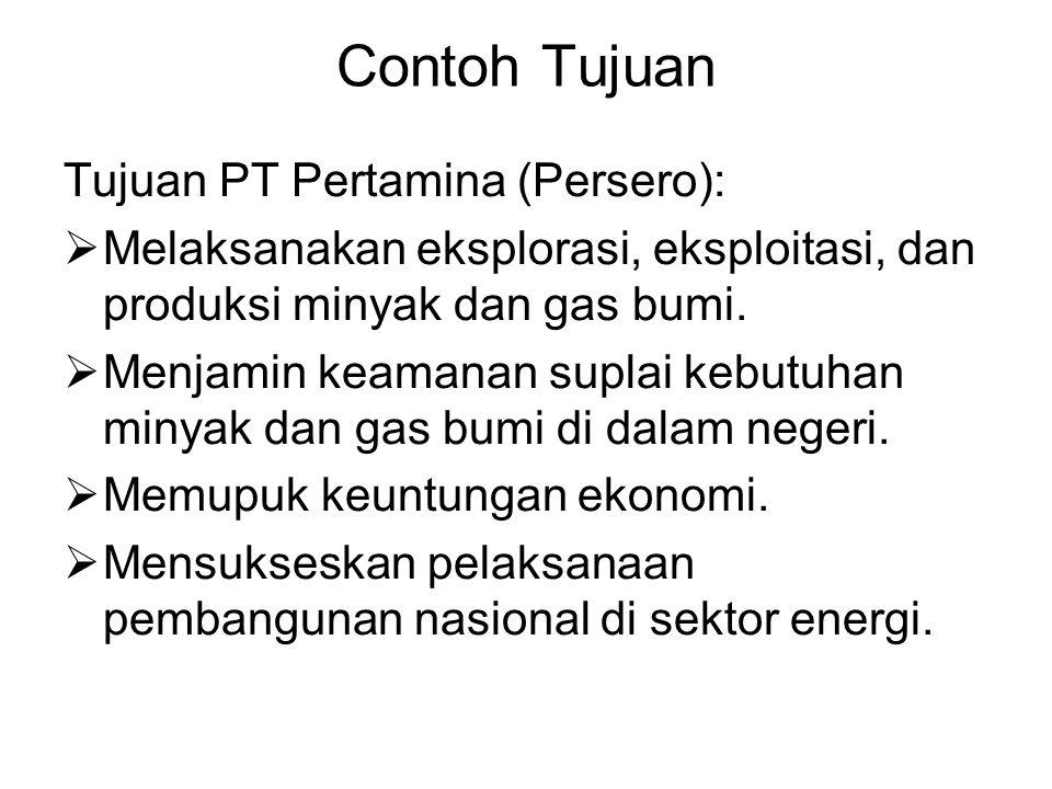 Contoh Tujuan Tujuan PT Pertamina (Persero):  Melaksanakan eksplorasi, eksploitasi, dan produksi minyak dan gas bumi.  Menjamin keamanan suplai kebu