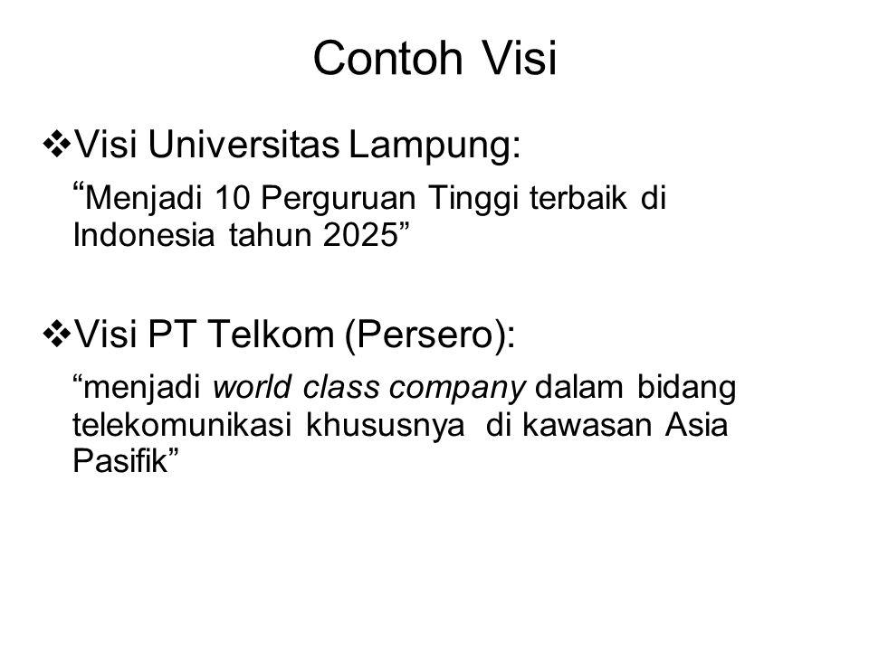 """Contoh Visi  Visi Universitas Lampung: """" Menjadi 10 Perguruan Tinggi terbaik di Indonesia tahun 2025""""  Visi PT Telkom (Persero): """"menjadi world clas"""