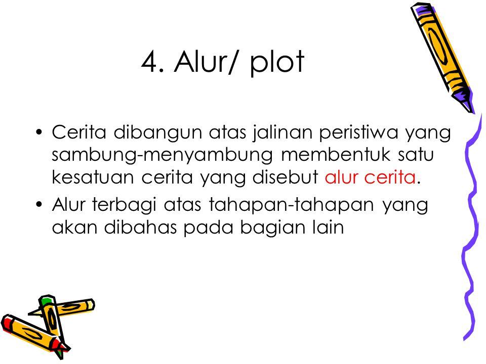 4. Alur/ plot Cerita dibangun atas jalinan peristiwa yang sambung-menyambung membentuk satu kesatuan cerita yang disebut alur cerita. Alur terbagi ata