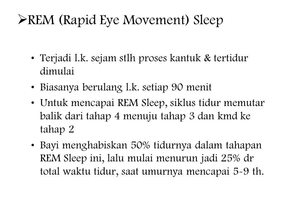  REM (Rapid Eye Movement) Sleep Terjadi l.k.