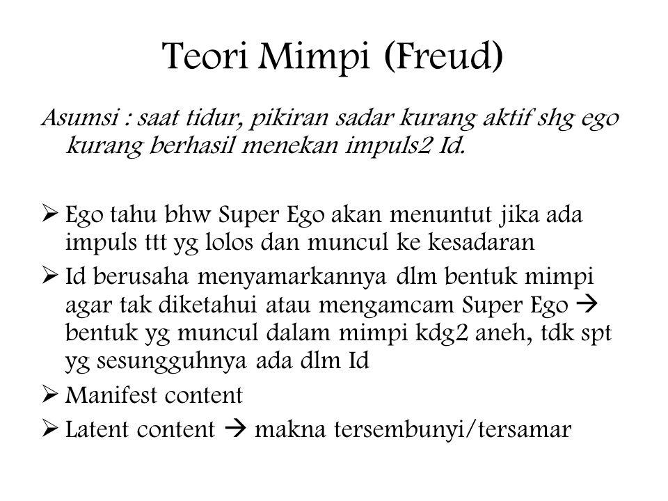 Teori Mimpi (Freud) Asumsi : saat tidur, pikiran sadar kurang aktif shg ego kurang berhasil menekan impuls2 Id.