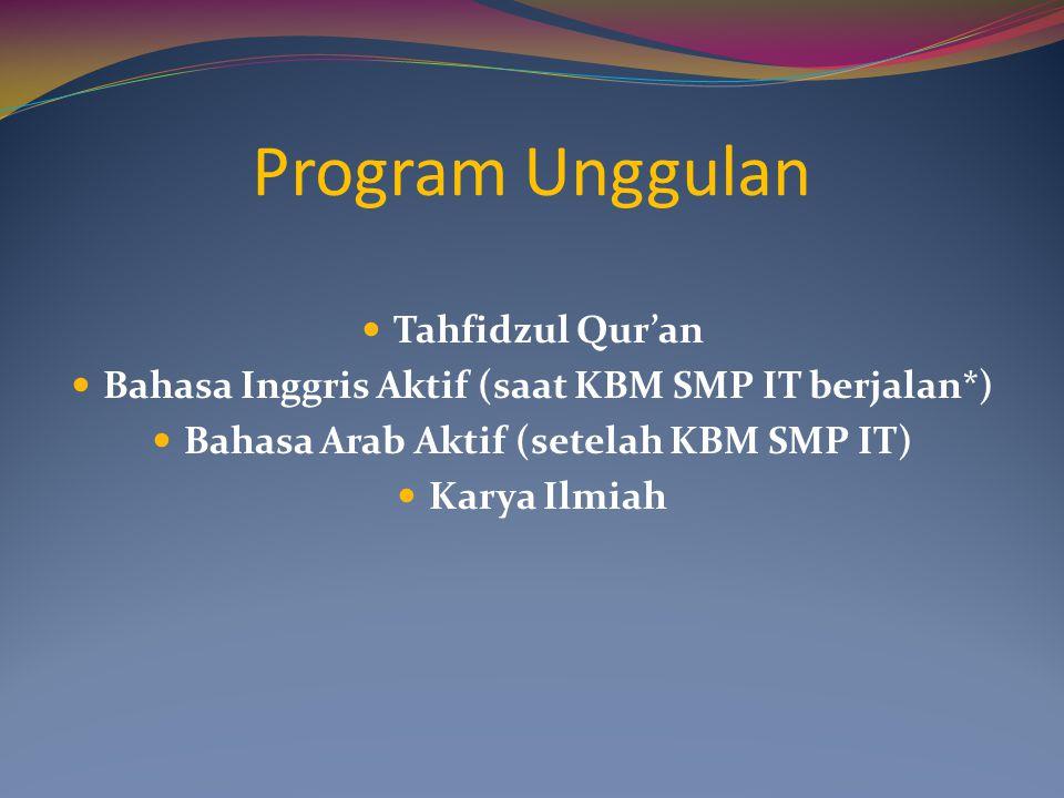 Program Unggulan Tahfidzul Qur'an Bahasa Inggris Aktif (saat KBM SMP IT berjalan*) Bahasa Arab Aktif (setelah KBM SMP IT) Karya Ilmiah