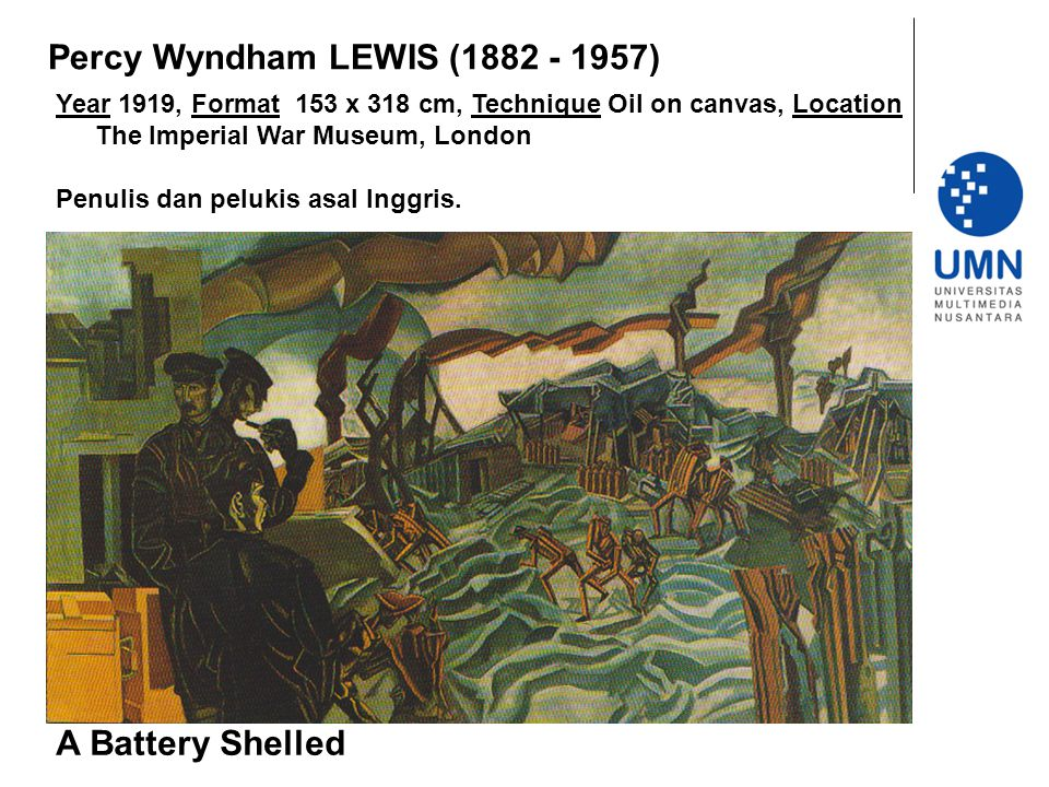 Year 1919, Format 153 x 318 cm, Technique Oil on canvas, Location The Imperial War Museum, London Penulis dan pelukis asal Inggris. A Battery Shelled