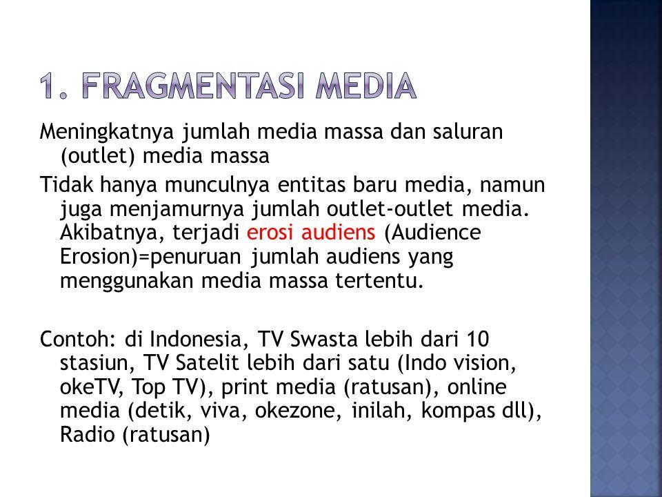 Meningkatnya jumlah media massa dan saluran (outlet) media massa Tidak hanya munculnya entitas baru media, namun juga menjamurnya jumlah outlet-outlet media.
