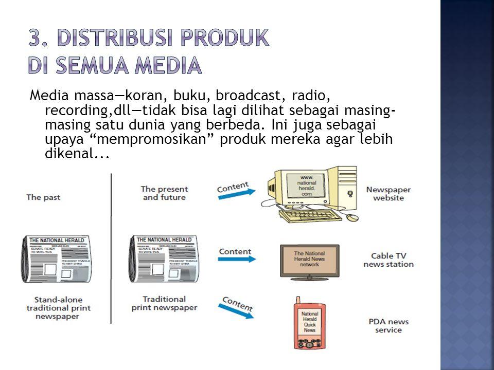 Media massa—koran, buku, broadcast, radio, recording,dll—tidak bisa lagi dilihat sebagai masing- masing satu dunia yang berbeda.