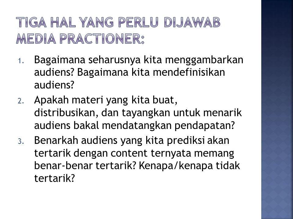 1. Bagaimana seharusnya kita menggambarkan audiens.