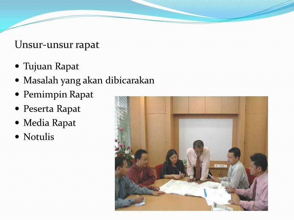 Unsur-unsur rapat Tujuan Rapat Masalah yang akan dibicarakan Pemimpin Rapat Peserta Rapat Media Rapat Notulis