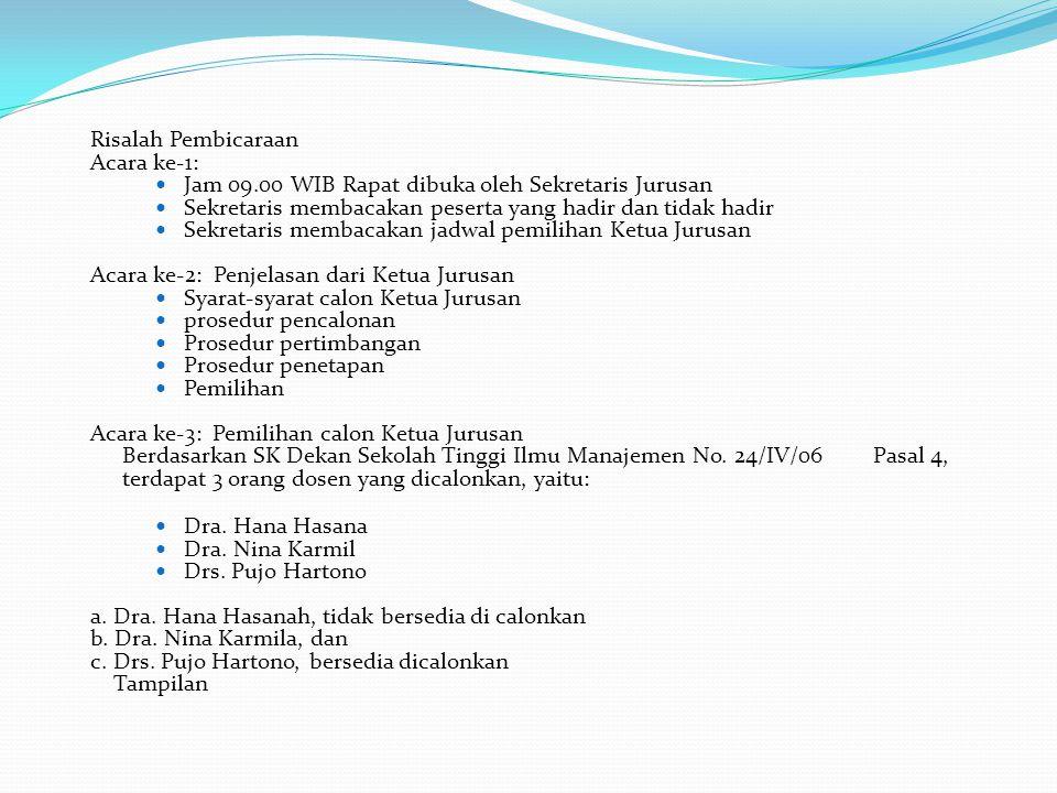 Risalah Pembicaraan Acara ke-1: Jam 09.00 WIB Rapat dibuka oleh Sekretaris Jurusan Sekretaris membacakan peserta yang hadir dan tidak hadir Sekretaris