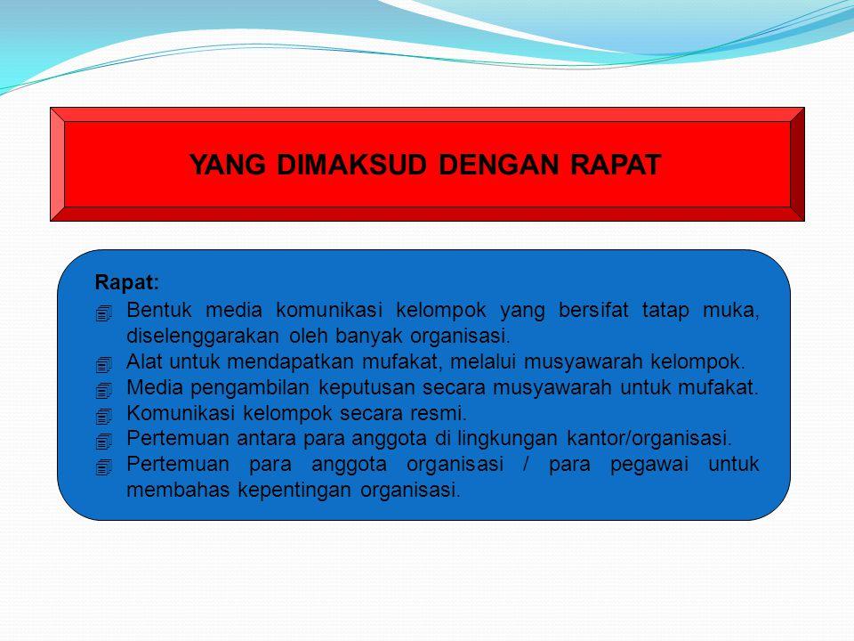 Menurut Kamus Bahasa Indonesia edisi ke-2 terbitan balai pustaka Rapat adalah pertemuan (kumpulan) untuk membicarakan sesuatu sidang majelis